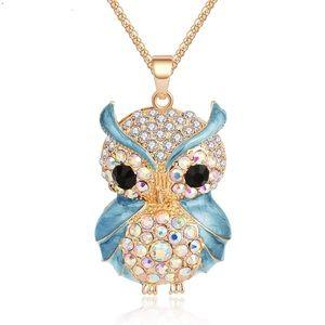 Adorable Blue Owl Rhinestone Embellished Necklace
